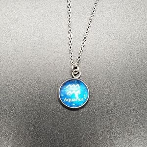 Aquarius Zodiac Astrology Circle Necklace